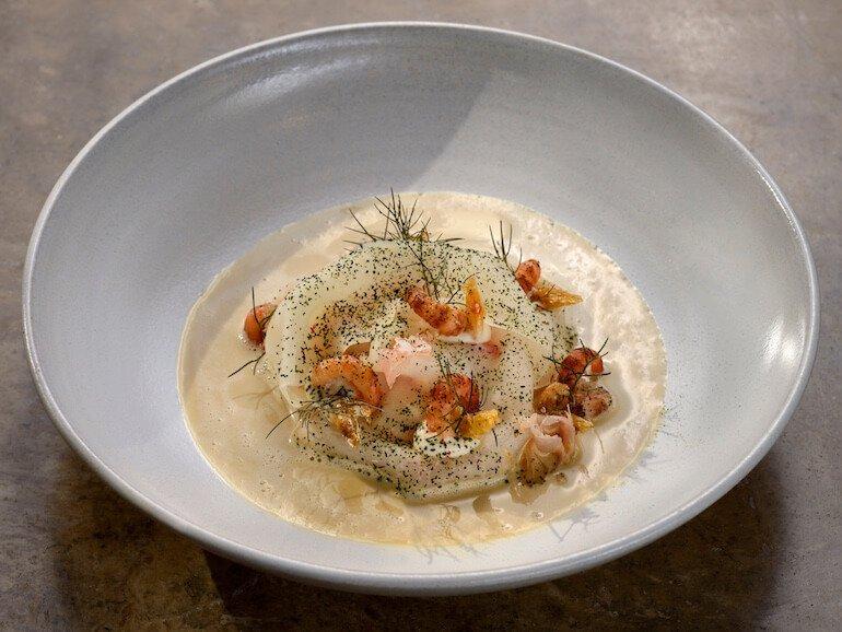 Gourmet-Menü Saibling | Krabben | Katenschinken | Kohlrabi